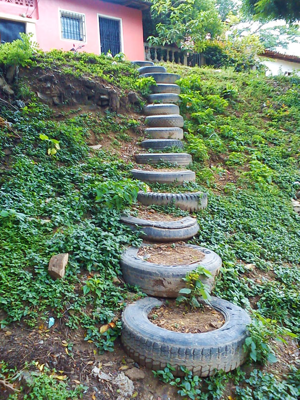 used-tires-stairs